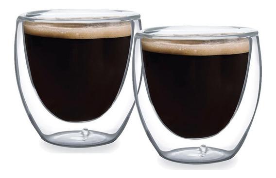 Jogo 2 Copos Parede Dupla Vidro 90ml Café Chá Bar