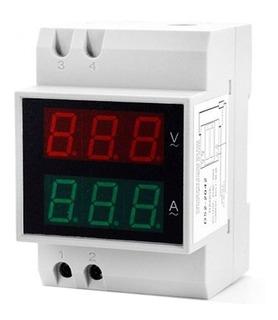 Voltímetro Amperímetro Led 110v 220v Ac Disjuntor Energia