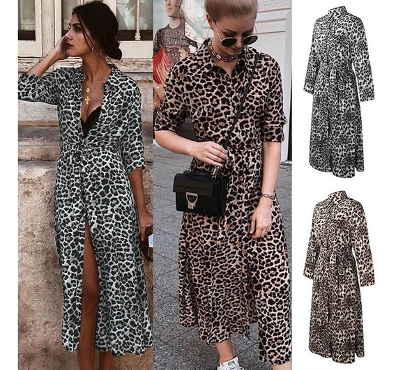 Moda Feminina Longo Camisa Dress Leopardo Impress?o
