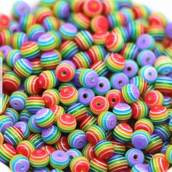 Bola Piedra Multicolor Arcoiris. 8mm 100 Piezas.