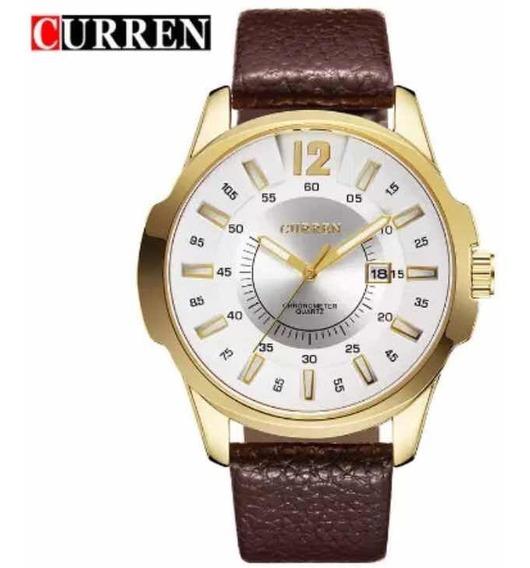 Relógio Curren Luxo Original De Couro Militar