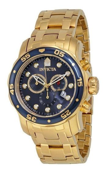 Relógio Invicta Pro Driver Scuba 0073 Dourado Fundo Azul