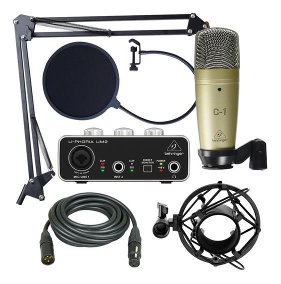 Kit Grabación Behringer Um2 C1 Microfono Condenser Antipop