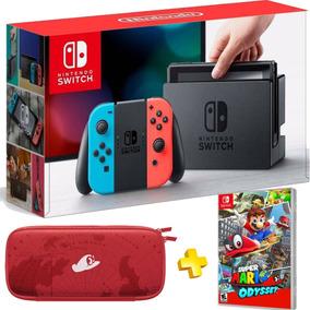 Nintendo Switch Bundle Super Mario Odyssey , Joycons E Case