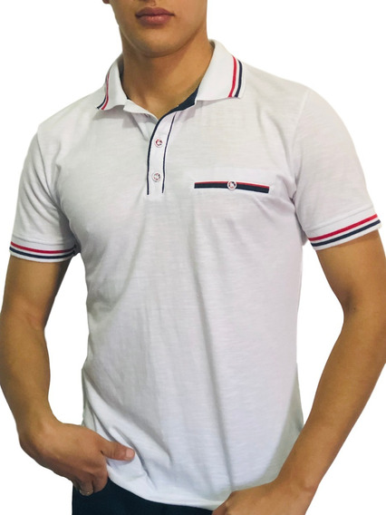 Playera Tipo Polo Slim Fit Peaceful Clothing Blanca