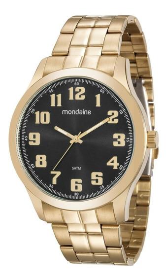 Relógio Masculino Dourado Mondaine Analógico Original + Nf
