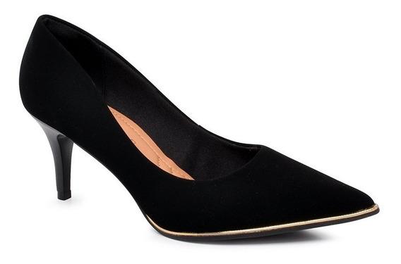Sapato Scarpin Feminino Bebecê 7020-104 Preto Nobuck