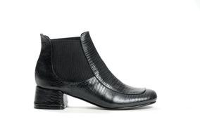 Zapato Mujer Bota Baja Natacha Reptil Negra #692