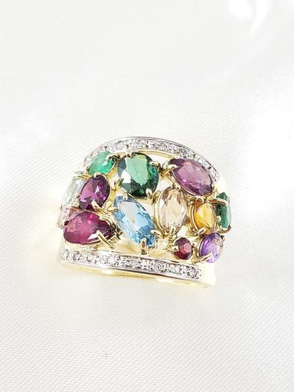 Anel Moderno De Ouro Amarelo Com Diamantes E Pedras Naturais