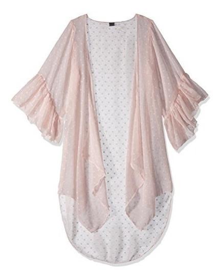 Colección Xiix Womens Swiss Dots Ruffle Sleeves Kimono Acce