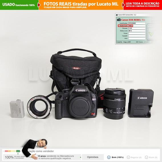 Canon T1i 7.5m Cliques + Lente Stm 18-55 Is +tubo Macro +...