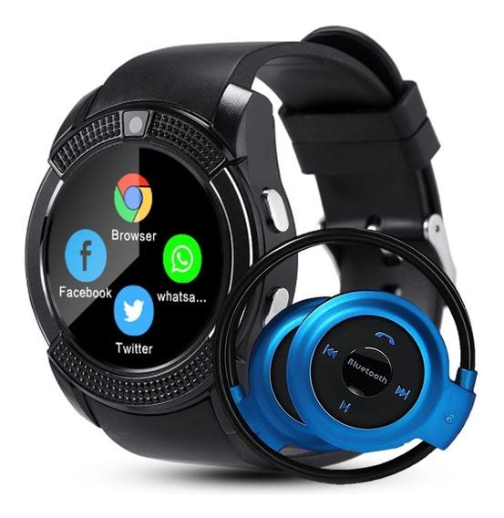Relógio Celular Bluetooth Chip Sd + Fone Sem Fio Bluetooth