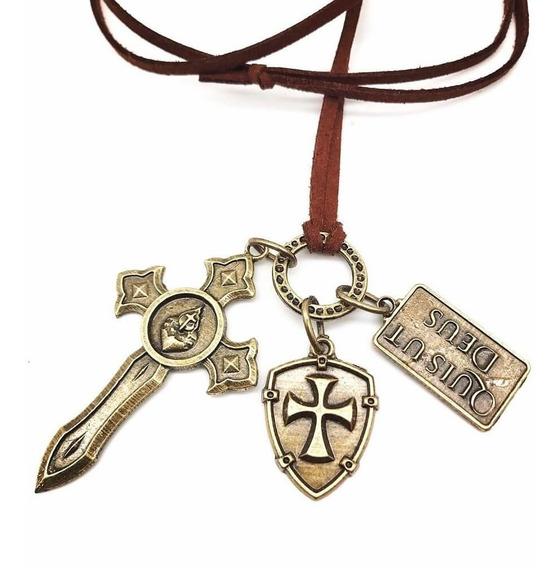 Colar Masculino Couro Escudo E Espada De São Miguel Arcanjo