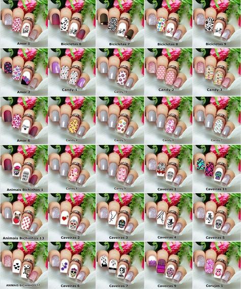 Ap04 Kit200 Adesivos/peliculas Unhas Zebrado Floral