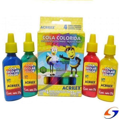 Cola Vinilica Acrilex Color 37gr. Pack X4 Serviciopapelero