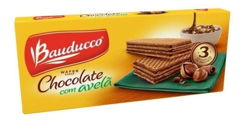 Biscoito Wafer Chocolate Com Avelã Bauducco 140g