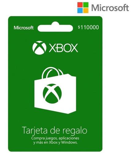 Tarjeta Regalo Xbox $110.000 Región Colombia