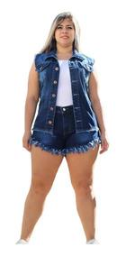 Short Feminino Jeans Curto Desfiado Com Lycra Plus Size