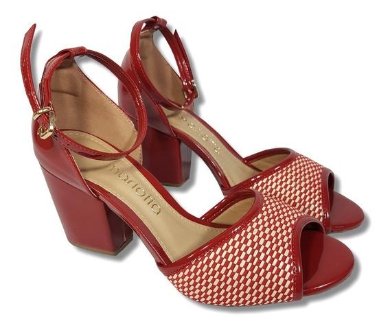 Sandália Vermelha Mariotta Em Verniz, Salto Médio Grosso