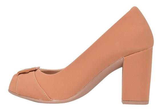 Sapato Feminino Salto Grosso Bico Redondo Chiq
