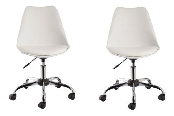 Kit 2 Cadeiras Eames Office Base Metal - Frete Grátis
