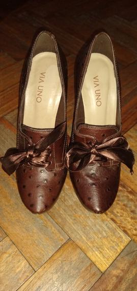 Zapatos De Dama Color Marrón Como Nuevos Talle 36