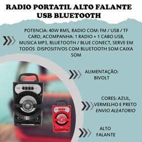 Radio Portatil Alto Falante Usb Bluetooth Recarregável Luz