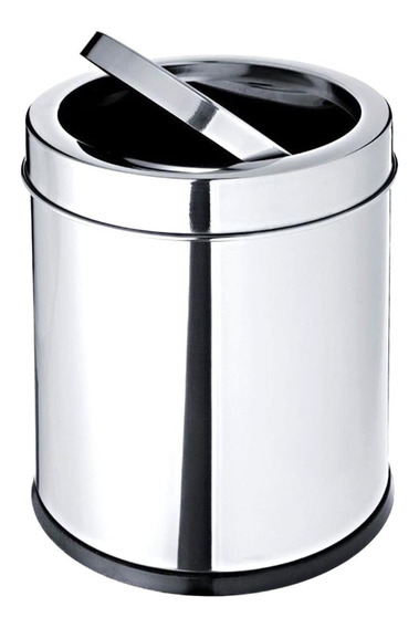 Lixeira Com Tampa Basculante Banheiro Cozinha 7,8l Aço Inox