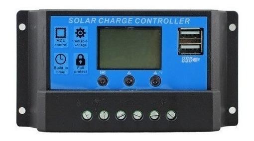 Controlador De Carga Solar 30a Pwm 12e24v + Par Conector Mc4