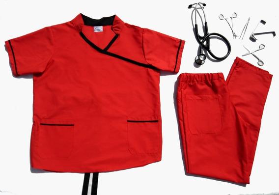 Ambo Médico, Cuello Mao Y Escote Cruzado, En Tela Batista
