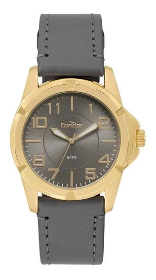 Relógio Masculino Condor Social Dourado Pulseira Em Couro