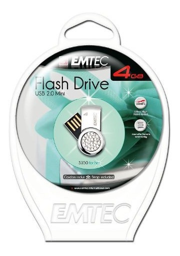 Pen Drive Emtec Flash Feminino Com Strass 4gb