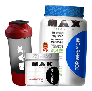 Combo Top Whey Protein 3w + Creatina 100g - Max Titanium