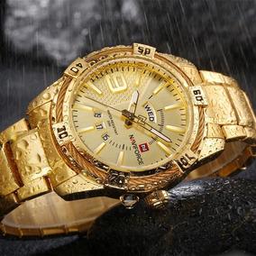 Naviforce Marca De Luxo Do Esporte Homens Relógio Ouro