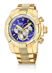 Relógio Pulso Everlast Cronógrafo Pulseira Aço Dourado E64