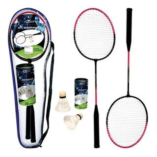 Kit Com 2 Raquetes De Badminton E 3 Petecas Tamanho 61,5cm
