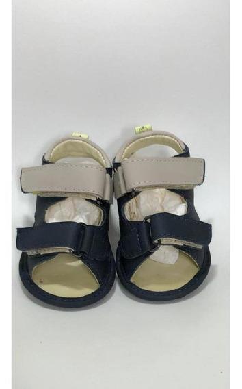 Sandalia Bebe Couro Bege/marinho B+b Menino Velcro