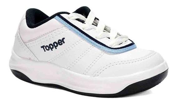 Zapatillas Cuero Topper Tie Break Ii Kids Blanco/azul