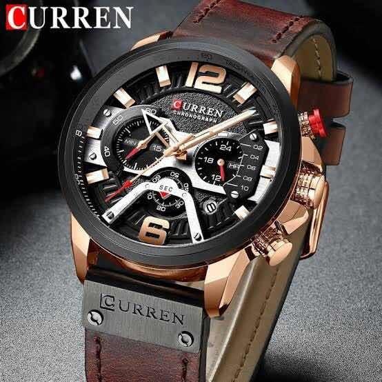 Relógio De Pulso Curren 8329 - Original (café - Preto)