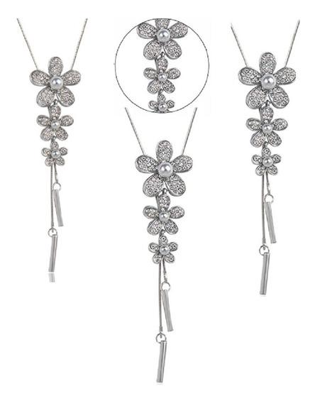 Colar Feminino Longo Comprido Flor Cristal 85185