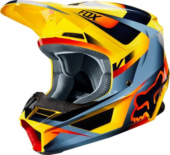 Capacete Fox Mx V1 Mvrs Motif 19 Amarelo Motocross Trilha Lançamento