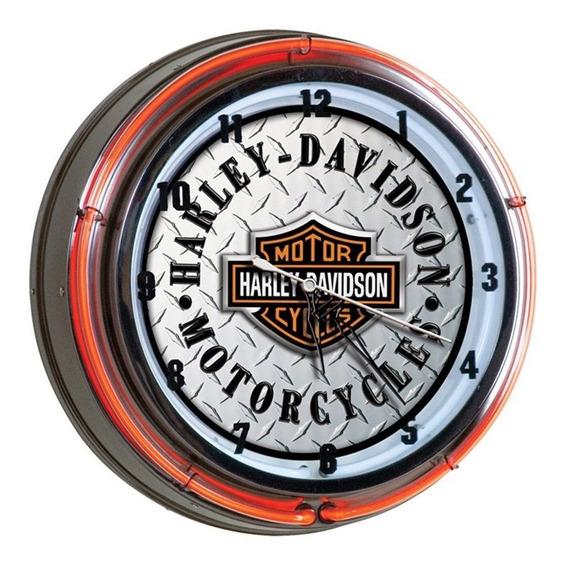 Harley Davidson - Bar & Shield Daimond Plate Neon Clock