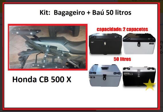 Baú Moto Cb 500 X Alumínio 50 L Cb500 X 500x + Bagageiro