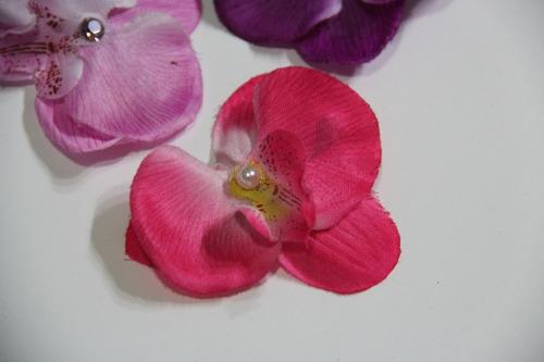 02 Orquídeas Para Cabelo Strass Flores Cabelo Presilha