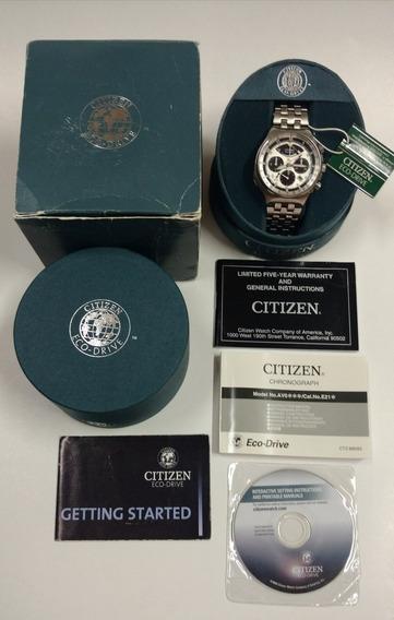 Citizen Eco-drive 2100 Wr200 Cronógrafo Caixa E Papéis