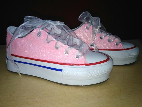 Zapatillas Con Plataforma Bordadas Para 15 Años