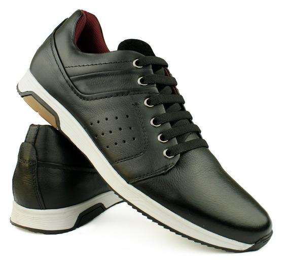 Sapato Tenis Casual Masculino Couro Legítimo Confortável