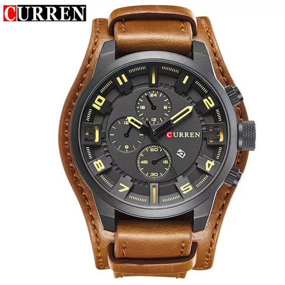 Relógio Curren 8225 Pulseira De Couro Social Luxo Top