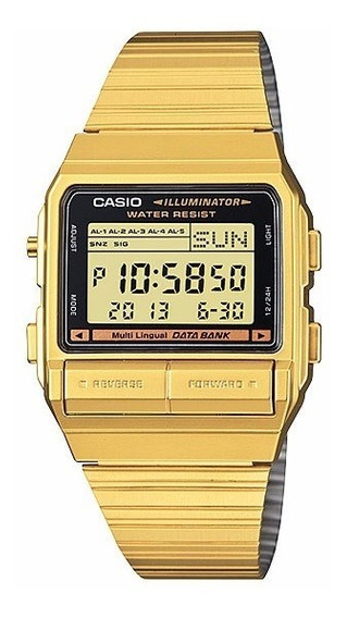Relógio Casio Vintage Digital Data Bank Db-380g 1df Dourado