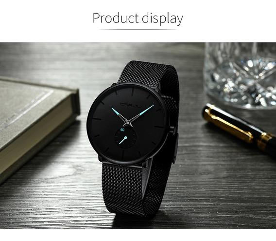Relógio Masculino Social Luxo Crrju 2258 Pulseira Aço Inox*,